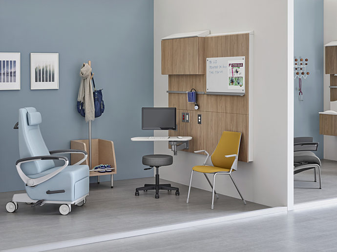 Healing space with healthcare furniture for patient and caregivers